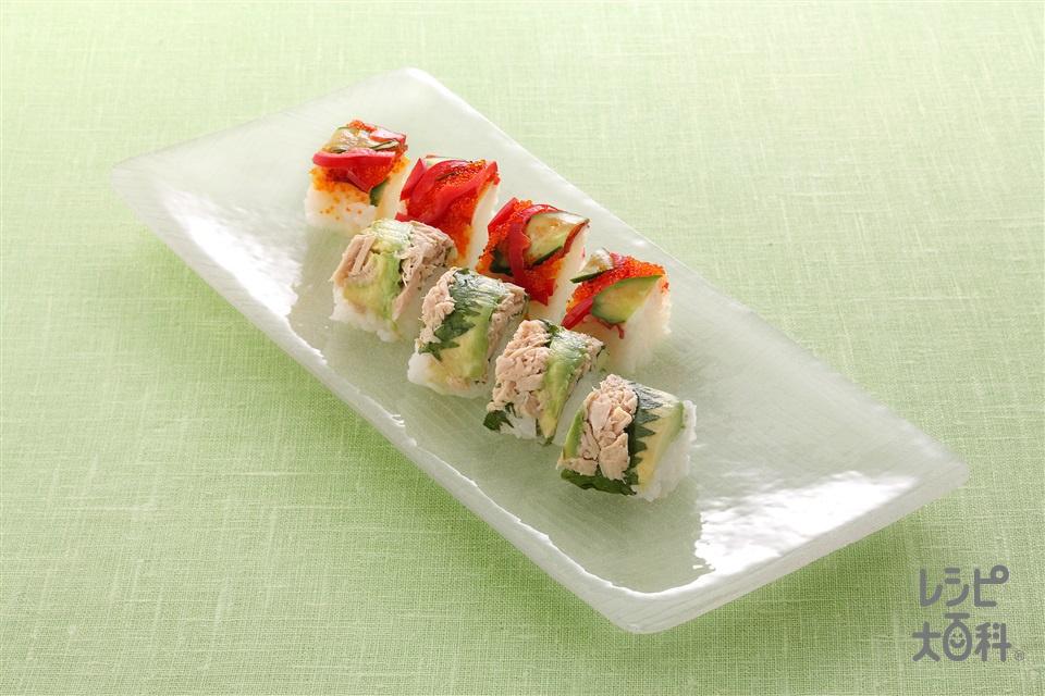 手綱寿司2種(米+ツナ油漬缶を使ったレシピ)