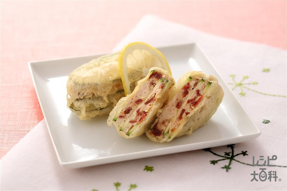 ズッキーニのミルフィーユ揚げ(ズッキーニ+鶏ひき肉を使ったレシピ)