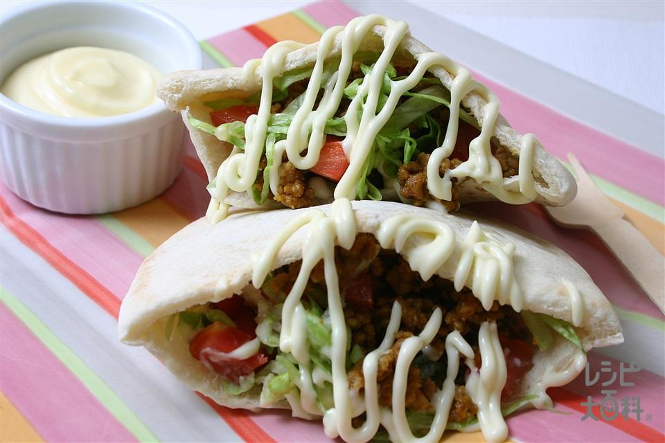 タコス風ピタパン(ピタパン+豚ひき肉を使ったレシピ)
