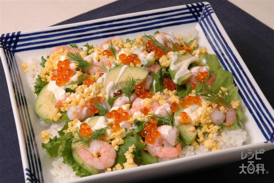 華やかサラダちらし(米+むきえびを使ったレシピ)