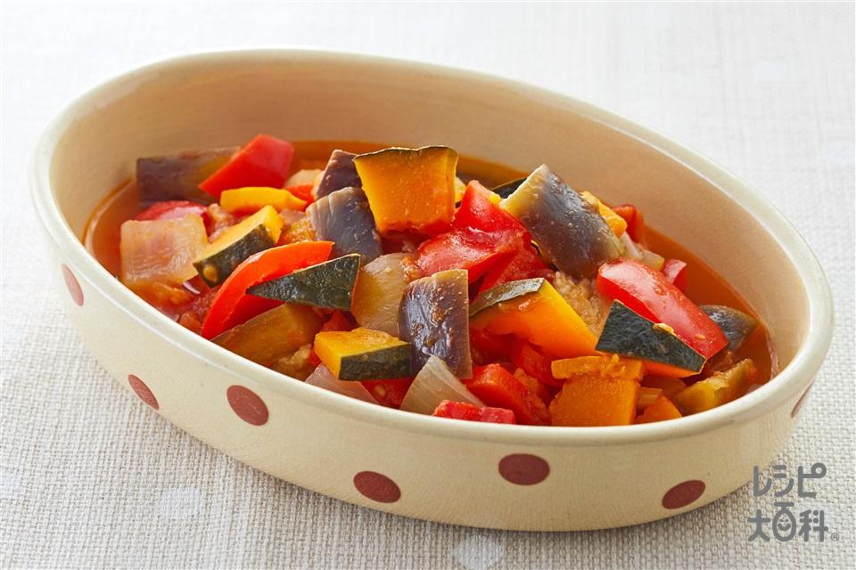 かぼちゃラタトゥイユ(かぼちゃ+トマトを使ったレシピ)
