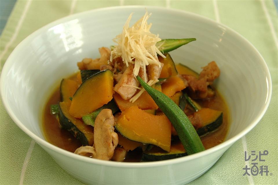 鶏肉とかぼちゃの煮物香味のせ(鶏もも肉+「ほんだし」を使ったレシピ)
