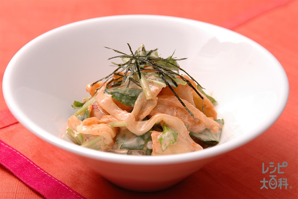 いかとキムチのマヨあえ(いかそうめん+白菜キムチを使ったレシピ)
