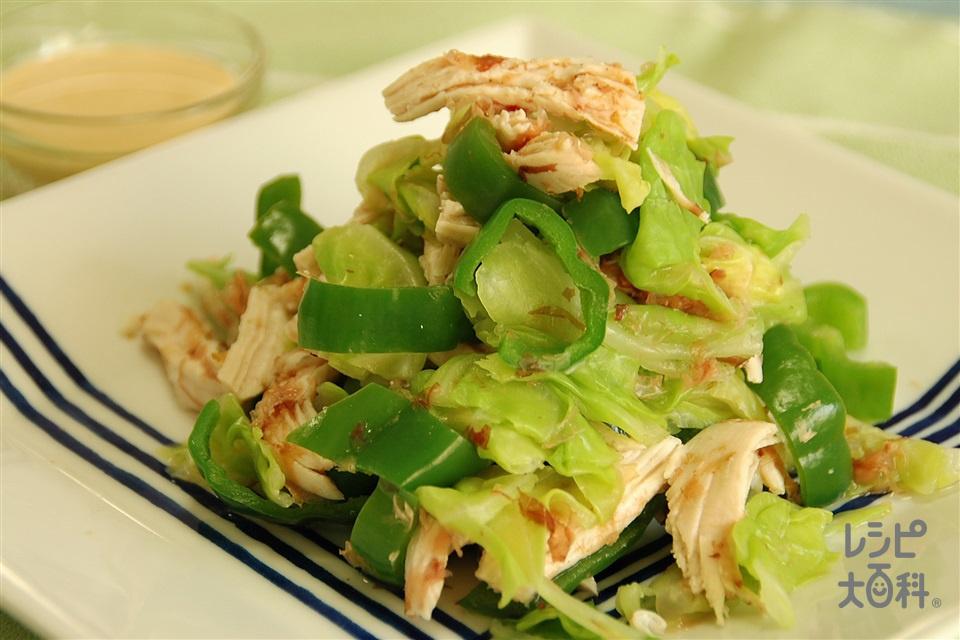 ゆで鶏とピーマンのおかかポンマヨがけ(鶏むね肉(皮なし)+キャベツを使ったレシピ)