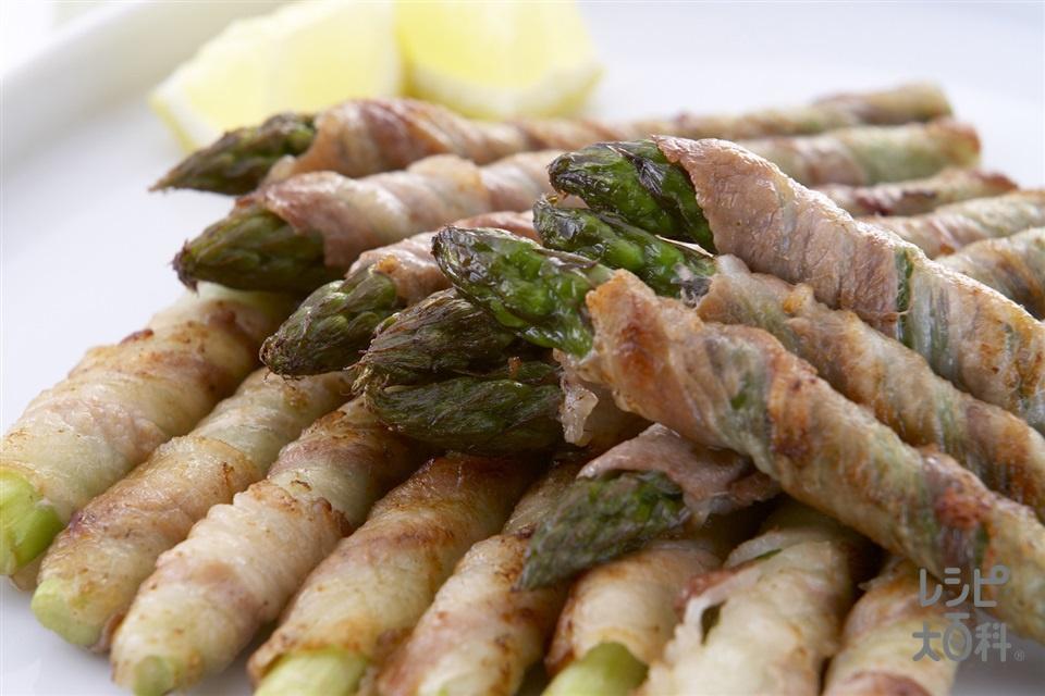 グリーンアスパラと豚肉の巻き焼き(グリーンアスパラガス+豚バラ薄切り肉を使ったレシピ)