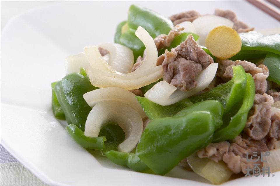 ピーマンと豚肉のヘルシー炒め(玉ねぎ+ピーマンを使ったレシピ)