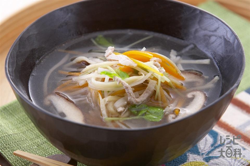 沢煮椀(豚ロースしゃぶしゃぶ肉+みつばを使ったレシピ)