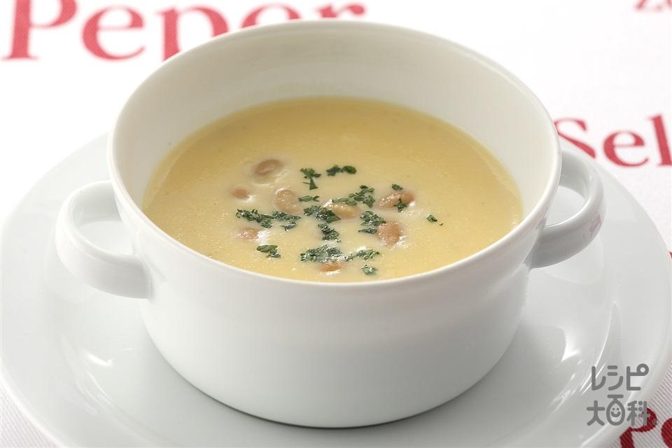 大豆入りコーンスープ(クリームコーン缶+牛乳を使ったレシピ)