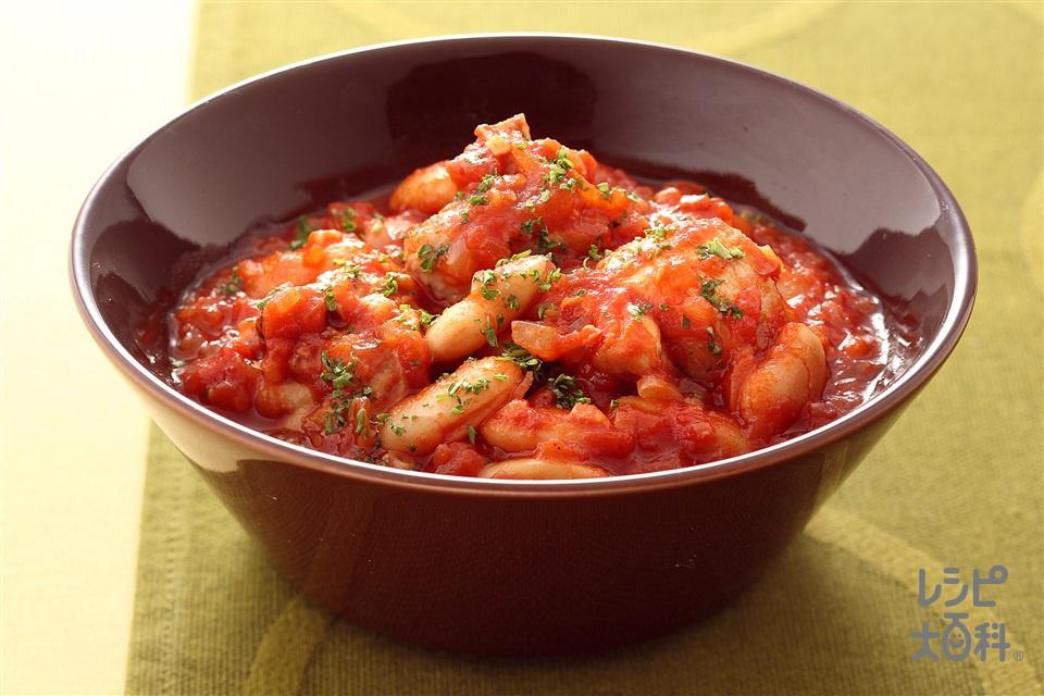 鶏肉と白いんげんのトマト煮(鶏骨つき肉ぶつ切り+カットトマト缶(食塩無添加)を使ったレシピ)