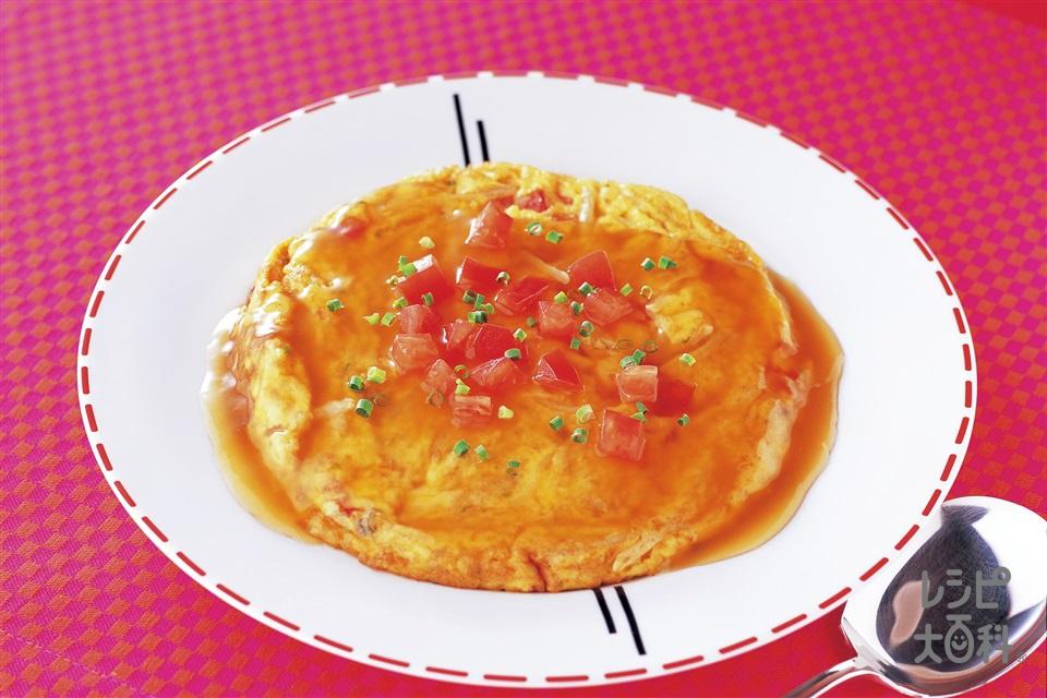 トマトとじゃがいもの具だくさんかに玉(卵+トマトを使ったレシピ)