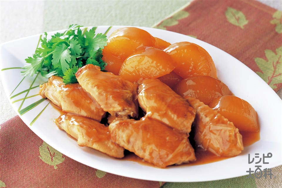 大根と手羽先の中華風オイスターソース煮込み(鶏手羽先+Aしょうゆを使ったレシピ)