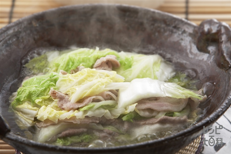 白菜と豚肉の重ね煮(白菜+豚薄切り肉を使ったレシピ)