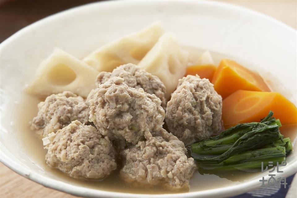 鶏つくねと根菜のだし煮(鶏ひき肉+れんこんを使ったレシピ)