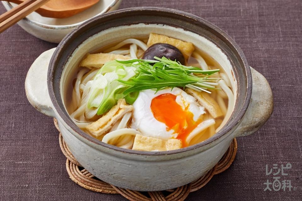 鍋焼きうどん(ゆでうどん+卵を使ったレシピ)