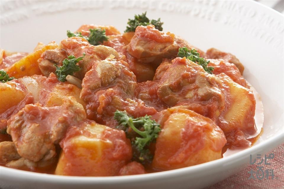 鶏肉とじゃがいものトマト煮込み(鶏もも肉+じゃがいもを使ったレシピ)