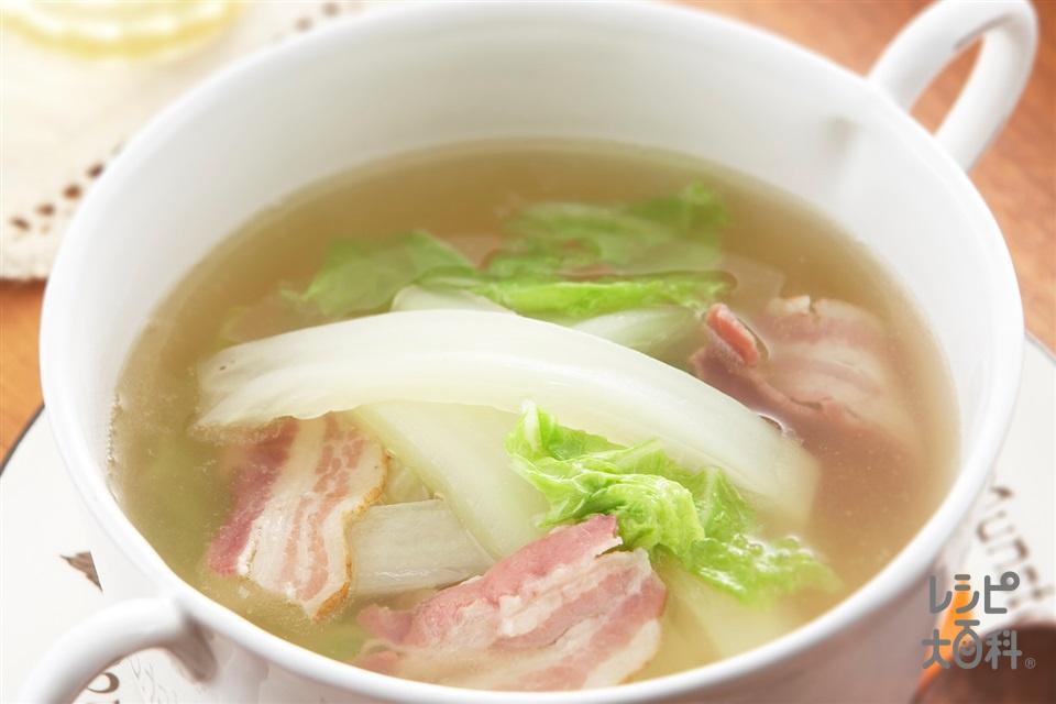 たっぷり白菜とベーコンのおかずスープ(白菜+ベーコンを使ったレシピ)