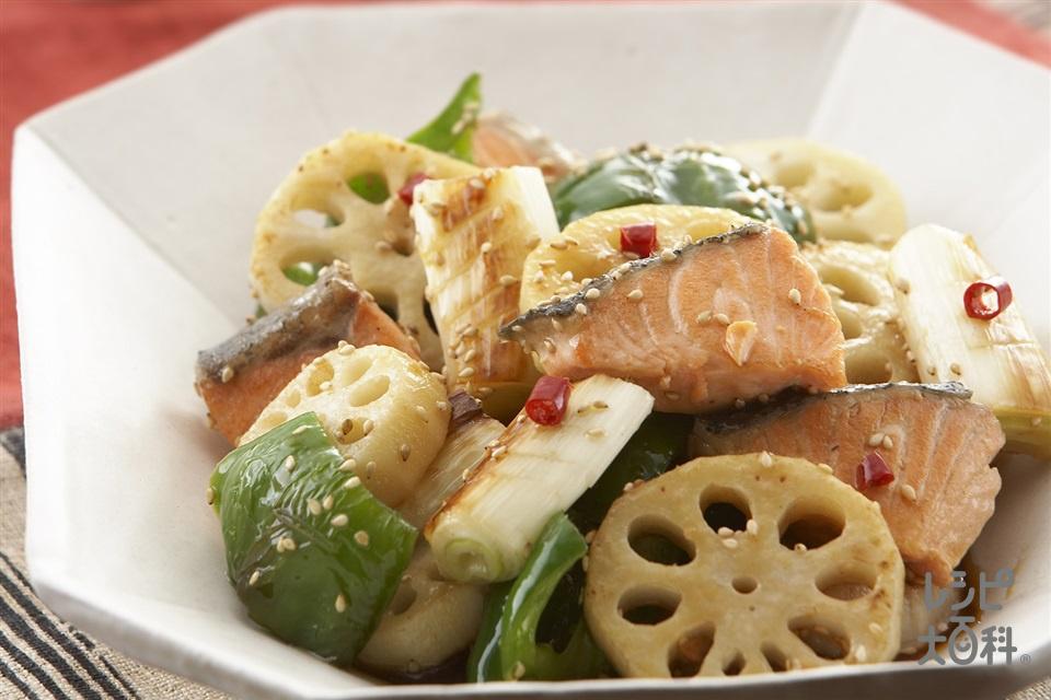 鮭とれんこんの中華風焼き漬け(れんこん+ねぎを使ったレシピ)