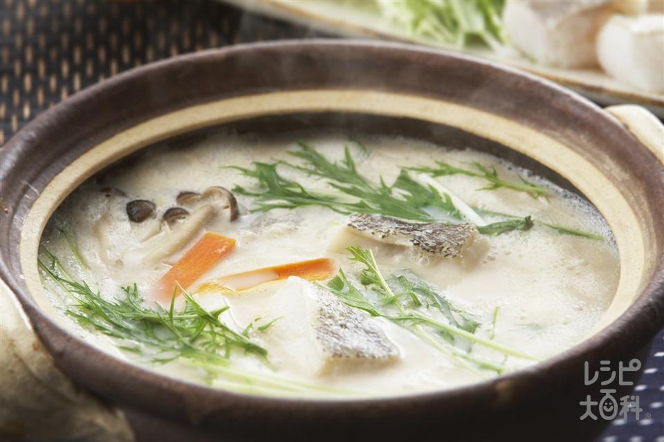 たらの豆乳鍋(甘塩たら+水菜を使ったレシピ)