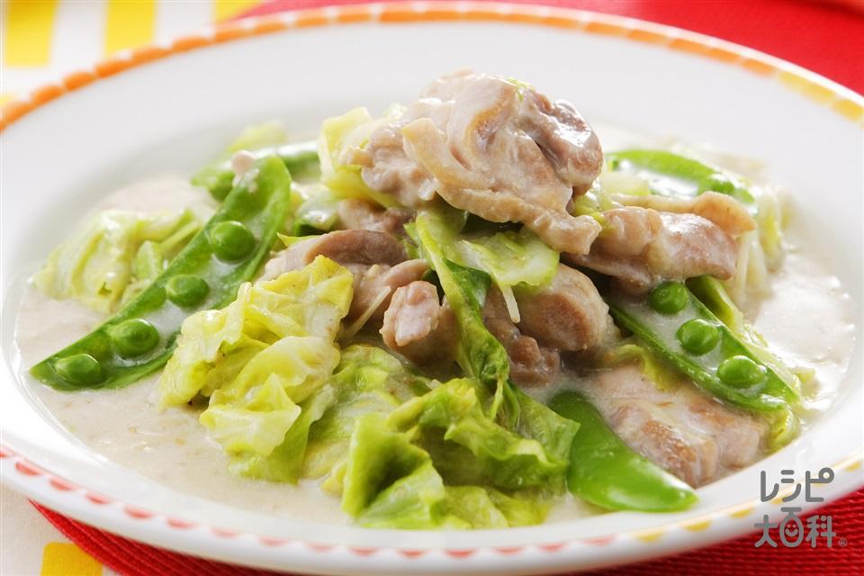 鶏肉とキャベツのごまクリーム炒め(鶏もも肉+キャベツを使ったレシピ)