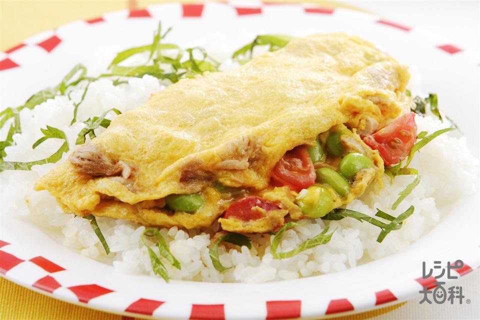たっぷり野菜のフワたまご飯(ツナ缶(ノンオイル)+ミニトマトを使ったレシピ)