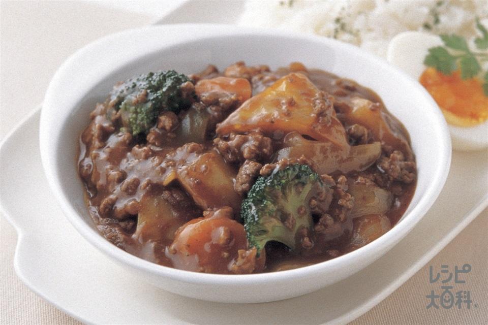 たっぷり野菜のシチュー風ミートソース煮こみ(合いびき肉+ご飯を使ったレシピ)