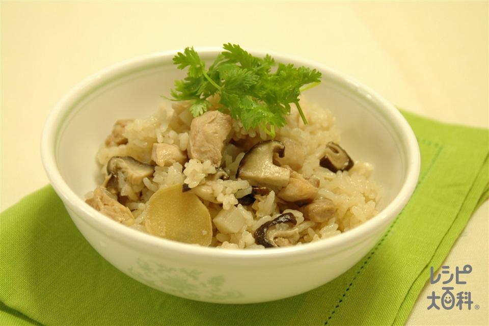 鶏肉としいたけの中華風炊き込みご飯(米+鶏もも肉を使ったレシピ)