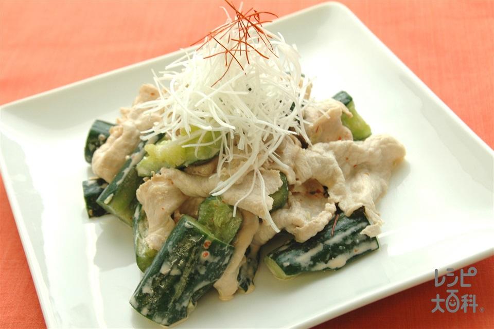 豚しゃぶとたたききゅうりのピリ辛マヨあえ(豚ロース薄切り肉+きゅうりを使ったレシピ)