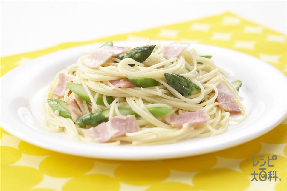 アスパラとベーコンのぺぺロンチーノ(スパゲッティ+ベーコンを使ったレシピ)