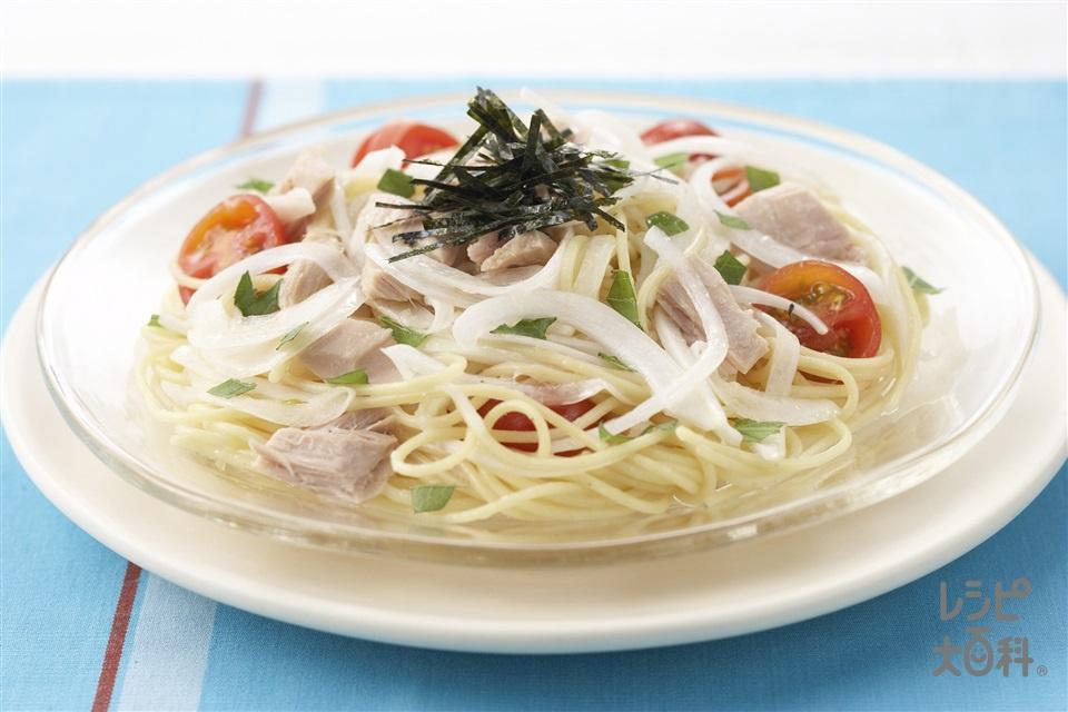 ツナと玉ねぎの冷製パスタ(スパゲッティ+ツナ缶を使ったレシピ)