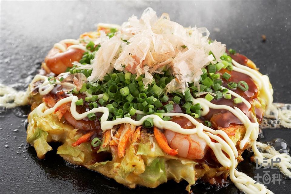 海鮮デラックスお好み焼き(キャベツ+小麦粉を使ったレシピ)