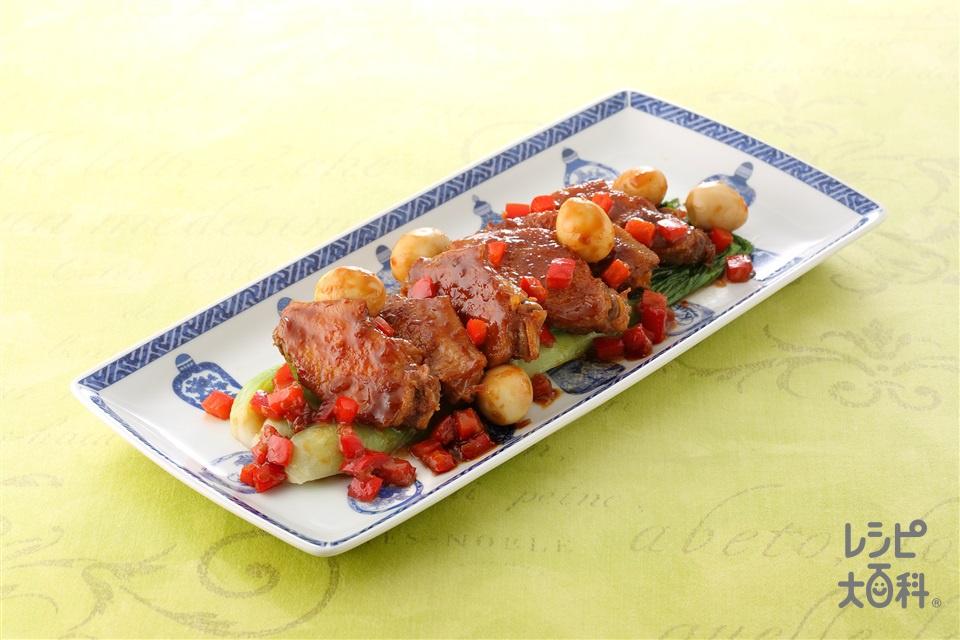 鶏手羽の甜麺醤煮込み(鶏手羽中+うずらの卵の水煮缶を使ったレシピ)