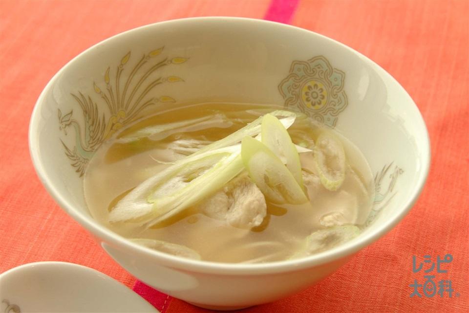 ねぎとチキンのごまスープ(鶏ささ身+ねぎを使ったレシピ)