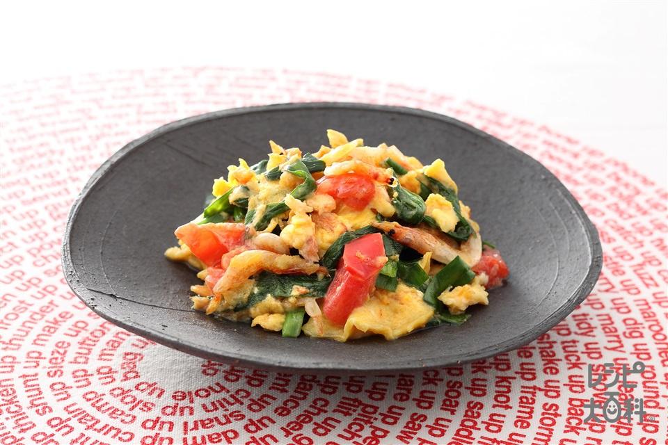 にらいり卵(卵+ミニトマトを使ったレシピ)