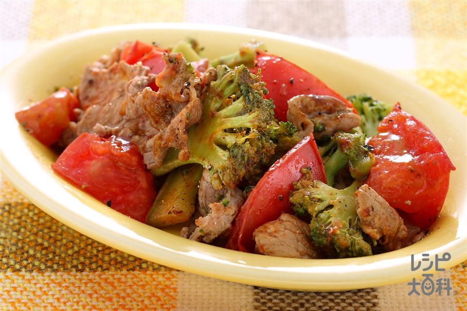 ポーク&ブロッコリーのクイックソテー(豚もも赤身肉+トマトを使ったレシピ)