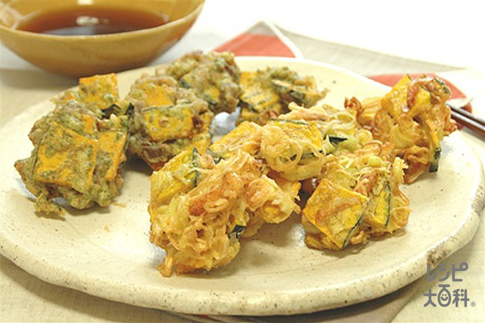 かぼちゃの二種落とし揚げ(かぼちゃ+豚ロース薄切り肉を使ったレシピ)