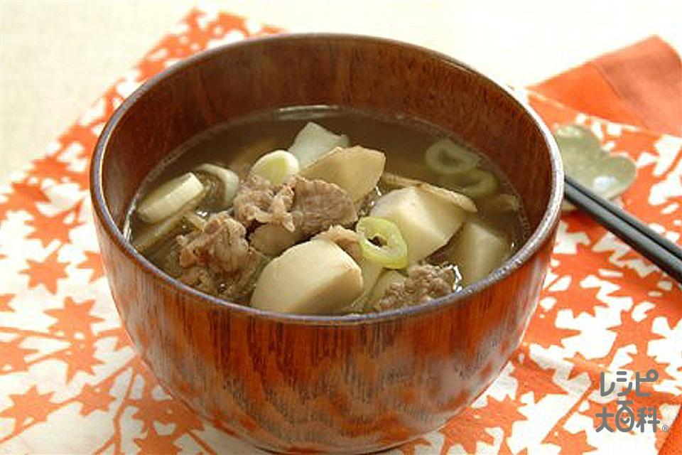 芋煮汁(牛切り落とし肉+里いもを使ったレシピ)