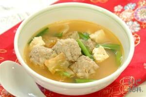 れんこん団子のチゲ風スープ