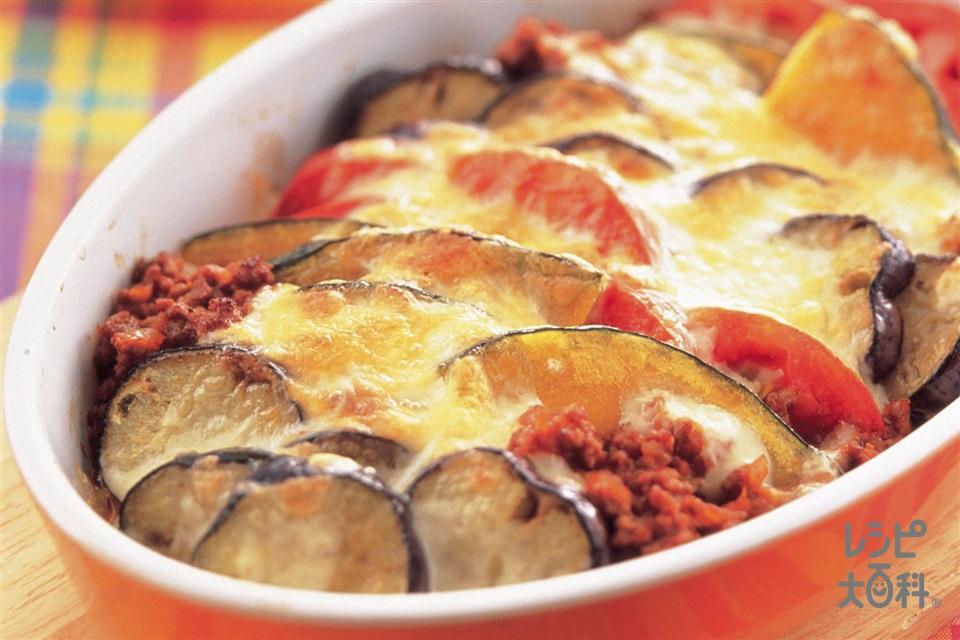 夏野菜のチーズ焼き(なす+「瀬戸のほんじお」を使ったレシピ)