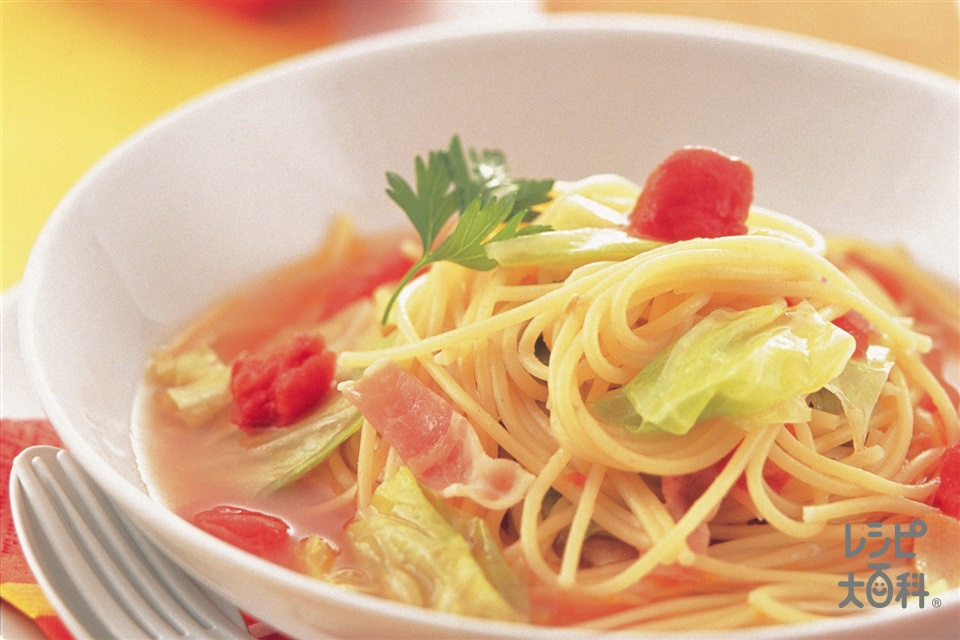 キャベツとトマトのスープパスタ(スパゲッティ+トマトを使ったレシピ)