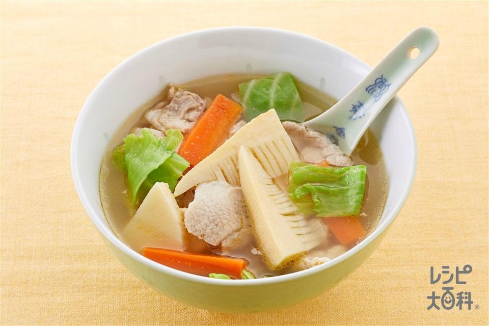 たけのことキャベツの中華スープ(豚もも薄切り肉+ゆでたけのこを使ったレシピ)