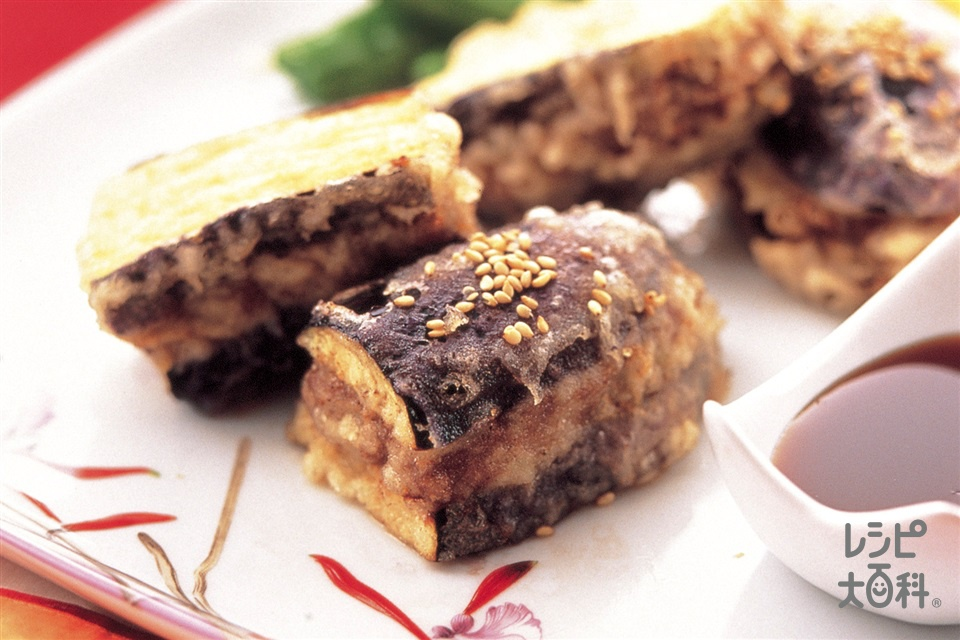 なすの中華風はさみ焼き(なす+合いびき肉を使ったレシピ)