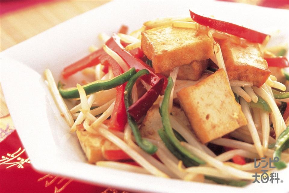 もやしと厚揚げのピリ辛炒め(厚揚げ+大豆もやしを使ったレシピ)