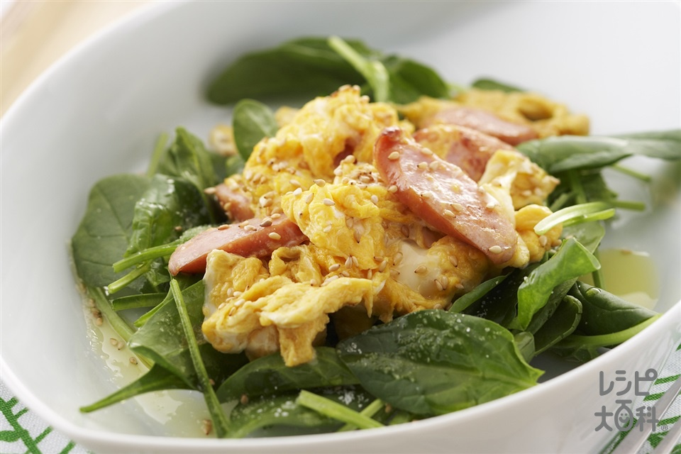 エッグソーセージサラダ(サラダほうれん草+卵を使ったレシピ)