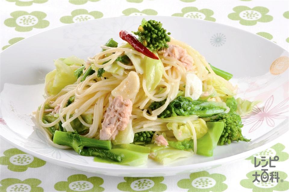 菜の花とキャベツのパスタ(キャベツ+スパゲッティを使ったレシピ)