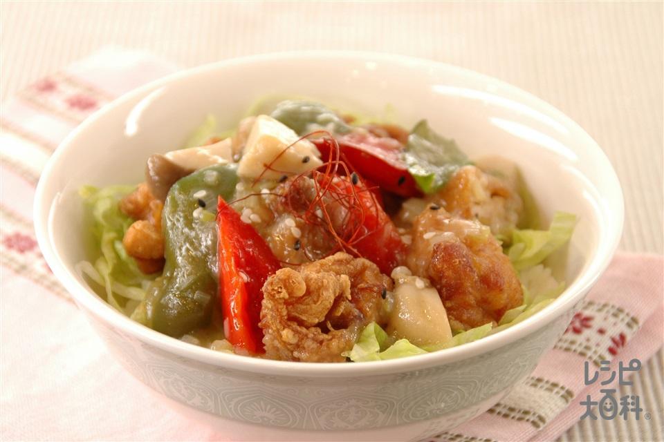 鶏唐のねぎごまあんかけ丼(ご飯+レタスを使ったレシピ)