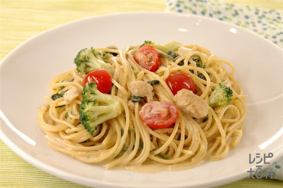 ほうれん草と白身魚のマヨしょうゆスパ(白身魚+スパゲッティを使ったレシピ)