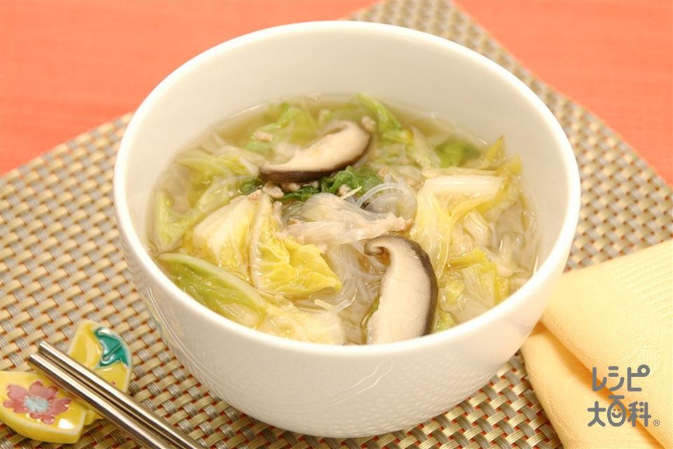 春雨と白菜の中華スープ(白菜+豚ひき肉を使ったレシピ)
