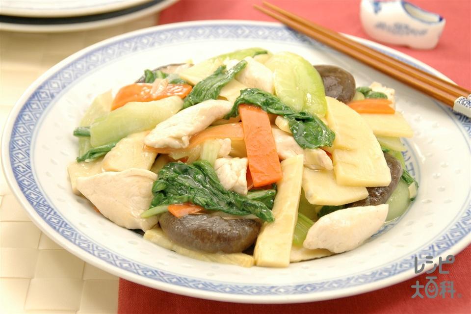 たけのことチンゲン菜の中華炒め(チンゲン菜+ゆでたけのこを使ったレシピ)