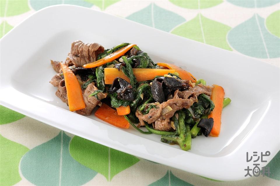 牛もも肉と春菊のオイスターソース炒め (牛もも薄切り肉+春菊を使ったレシピ)
