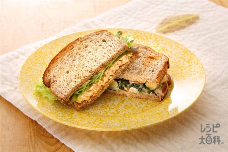 ライ麦パンのサンドイッチ2種